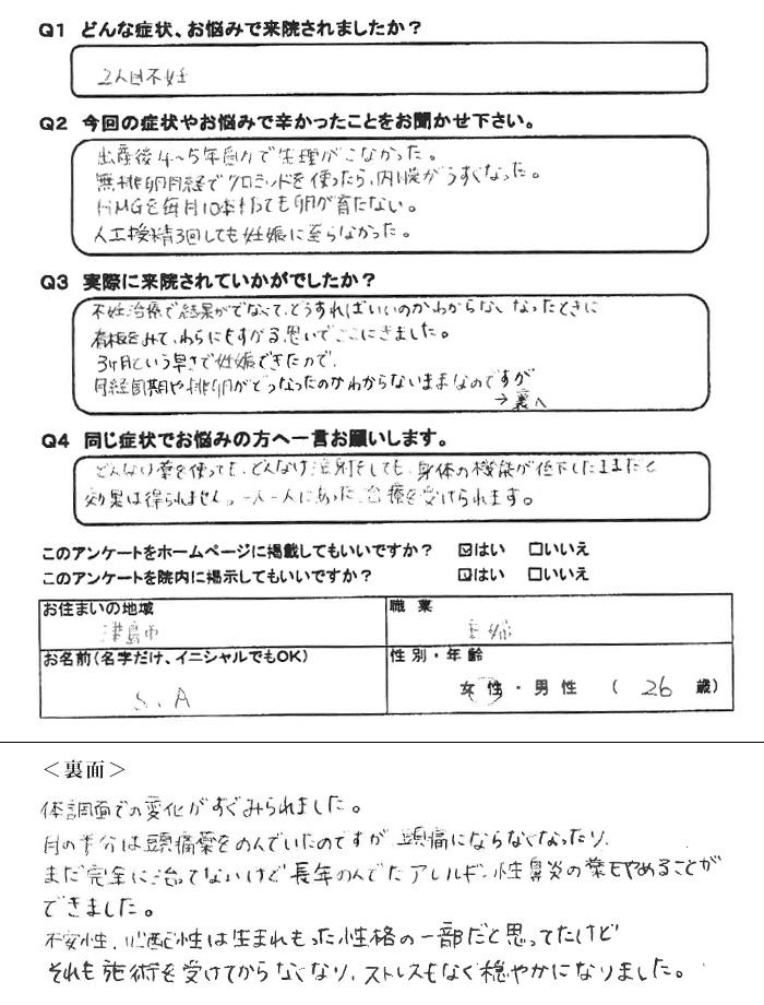 S.Aさん 26歳 津島市 主婦